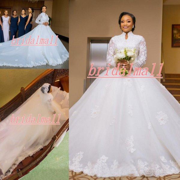Plus größe 2019 Afrikanische Applizierte Spitze Brautkleider Sheer Langarm Muslimischen Arabischen Brautkleider Reißverschluss Zurück Braut Kleid Vestidos De Novia