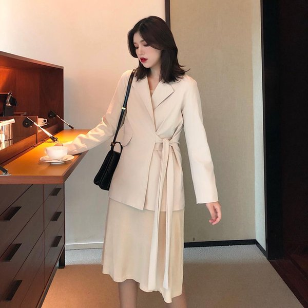 Korean 2019 Spring Elegant Women Blazers Office Woman Clothes Cotton Full Solid Single Button Sashes Suits