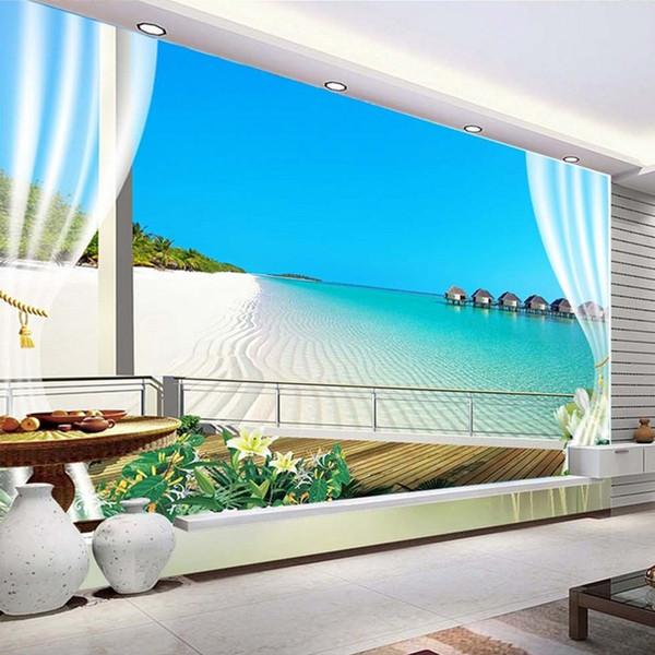 Benutzerdefinierte 3D Fototapeten Wandmalereien Malediven 3D stereoskopischen Fenster Balkon Strand Meerblick Hintergrund Wandbild Vliestapete