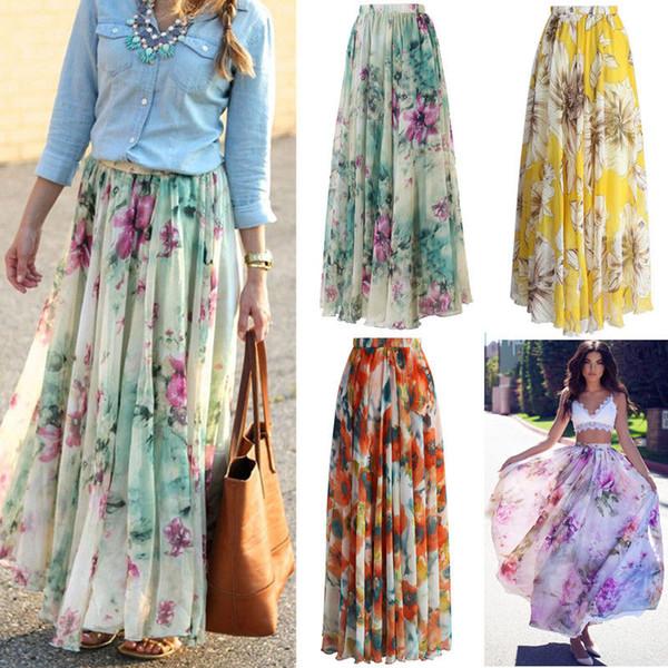 Empire Jupe en mousseline de soie imprimé floral Nouveau BOHO dames Jupe Tulle Femmes Jersey Gypsy Maxi Plein Long Summer