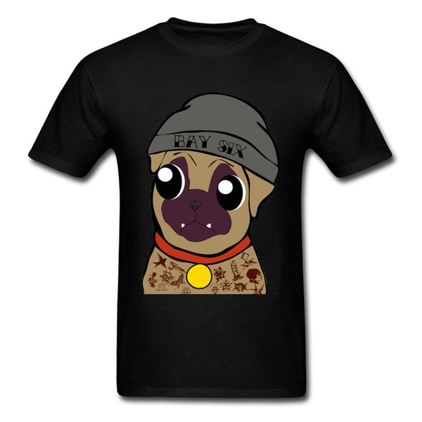 Cute 2018 Pug Life Men Black T-shirt Funny Animal Cartoon T Shirts High Quality Cotton Fitness Clothing For Students