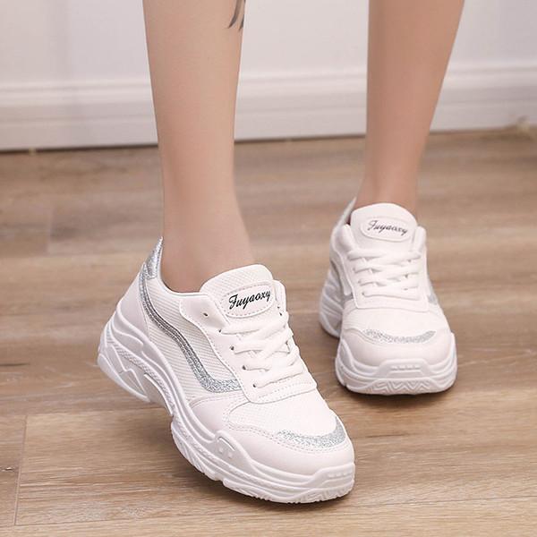 Acheter Baideng Noir Blanc Femmes Baskets 2019 Ins Chaud Nouvelles Tendances Running Chaussures De Sport Femme Pas Cher Plateforme Légère Chaussures
