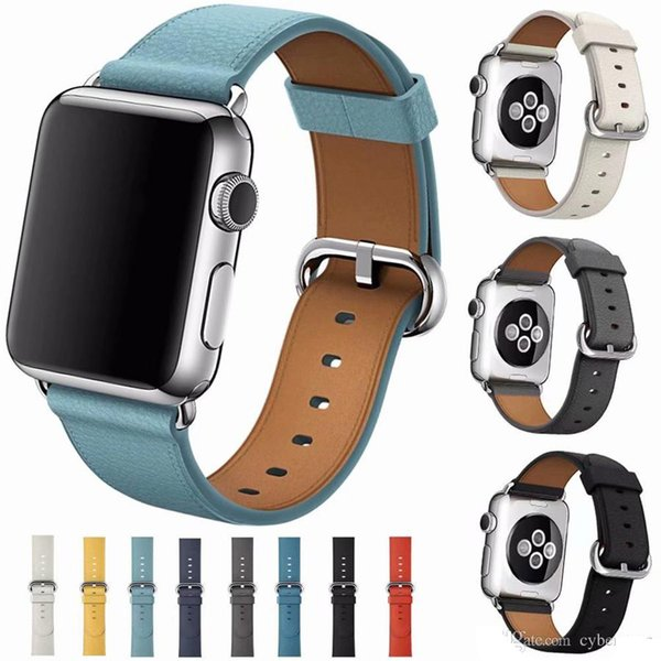 Genuine Litchi Leather Strap Replacement Band Watchband with Stainless Metal Clasp for iWatch Apple Watch Series 3 Series 2 Series 1