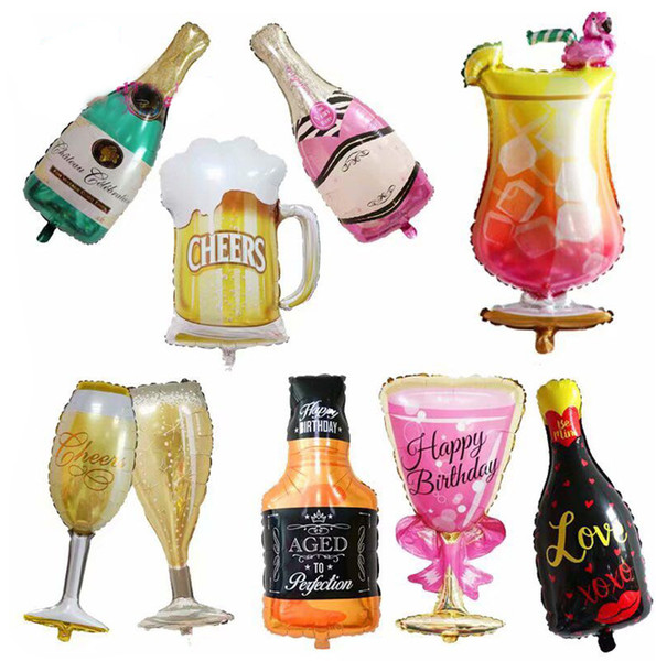 Champagne Bottle Glass Foil Balloons Happy Birthday Wedding Party Decors Cheers
