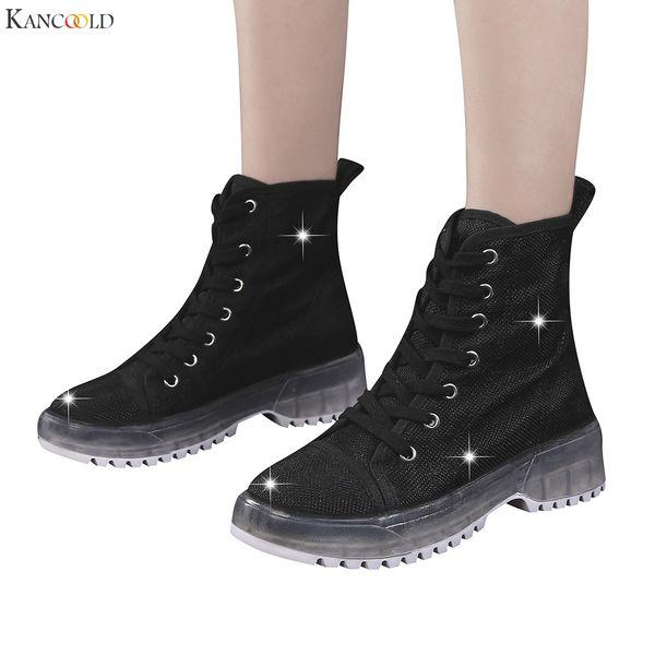 KANCOOLD bottes pour femmes 2019 bottines à outillages à semelles épaisses à lacets croisés chaussures mode à lacets femme bottes décontractées femmes