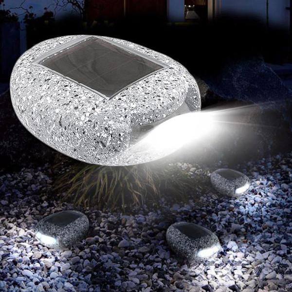 Solar Powered LED Road Stud Light Pebbles Decorative Stones Landscape Lighting Waterproof For Outdoor Patio Lawn Garden Yard