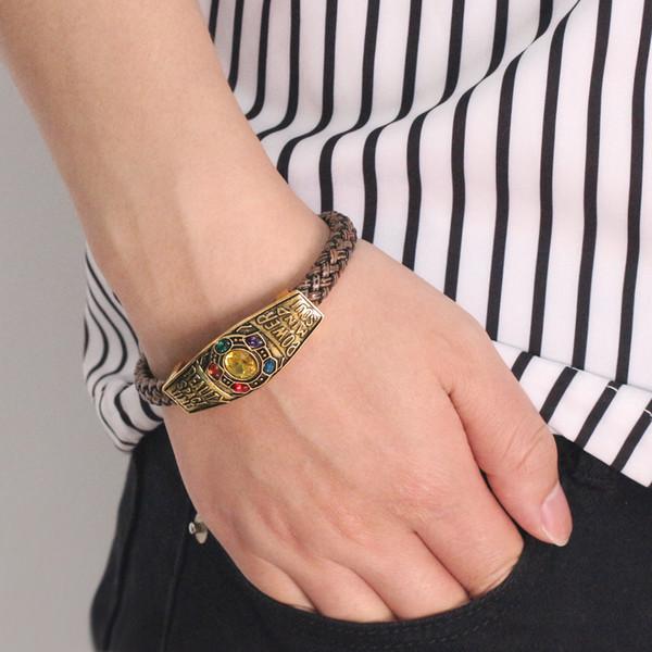 Factory Wholesale Crystal Designer Bracelet Avengers Thanos Luxury Bracelet Couple Love Women Mens Bracelets Leather Woven Bracelets