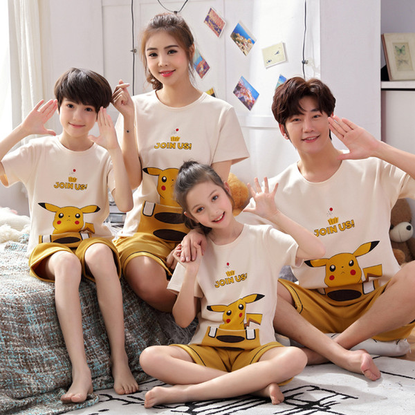 Family Pajamas Outfits for Family Matching Clothes Summer Short Sleeve Shirt +pant Daddy Girls Father Daughter Son Clothes Mum