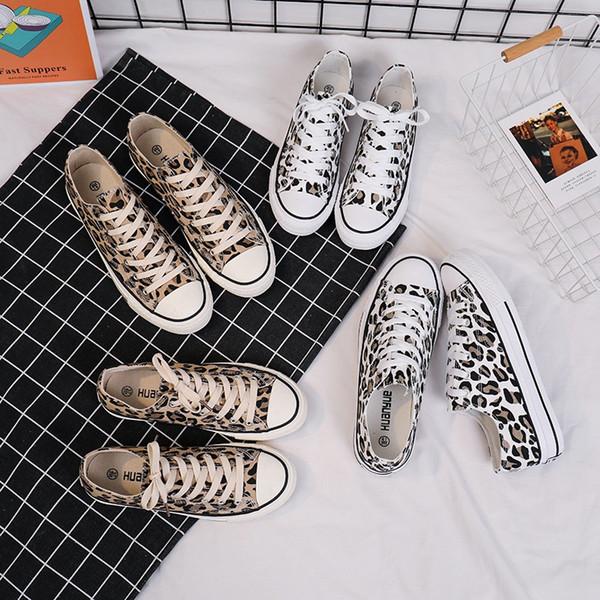 2019 Primavera Nova Sapatos de Lona de Leopardo Sapatos Coreanos dos homens Tendência Selvagem Sapatos Casuais Estudantes Modelos de Casal