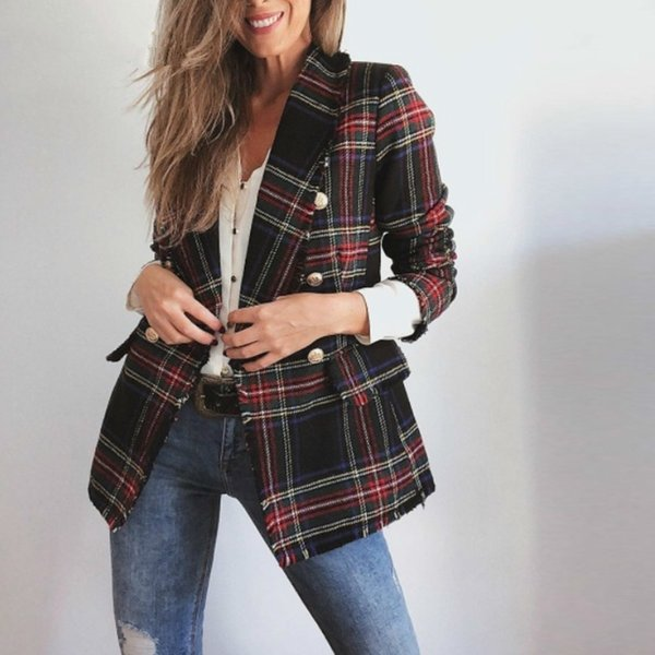 Giacche vintage doppio petto Future Mom Worn Tweed per donne Blazer Coat Pockets Plaid Ladies Capispalla