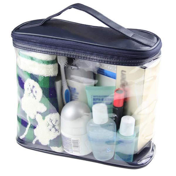 Unisex Transparente Makeup Bag Bath Grande Capacidade de viagem Zipper armazenamento Cosmetic Organizer Handbag de Higiene Pessoal Wash PVC