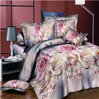 Bedding Set flower 4PCS/set rose print luxury Bed linen for Duvet Cover Pillowcase Bedclothes Room Decoration home textile
