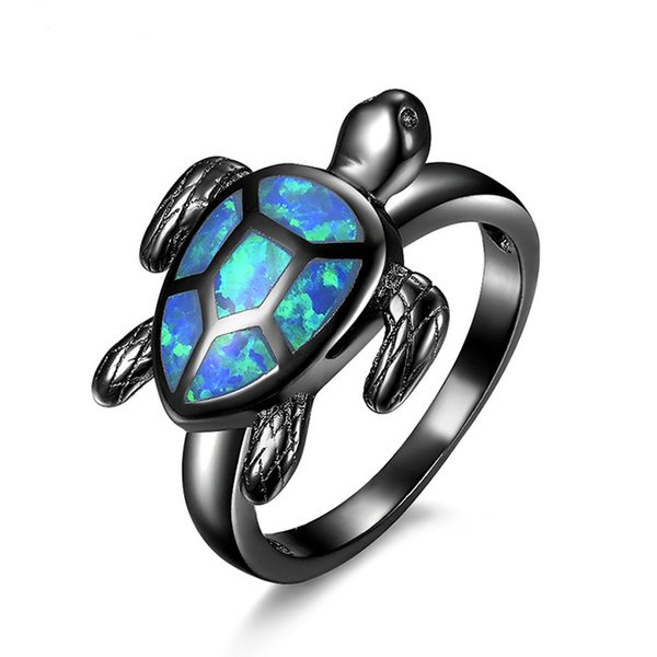 Miss JQ Fashion Opal Turtles Rings For Women Punk Rock Ring Vintage Cute Black Silver Animal Jewelry Wholesale anillos mujer