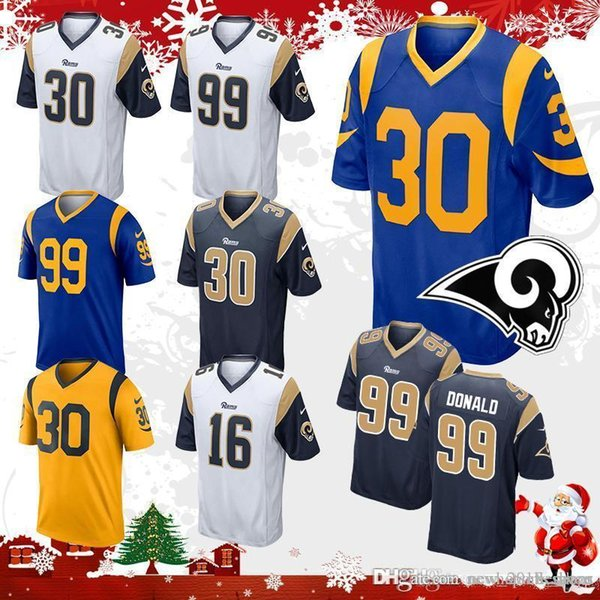 nice shoes 7f186 f68f7 2019 Mens Todd Gurley Jersey 30 Los Angeles Rams Football Jerseys 16 Jared  Goff 99 Aaron Donald Stitched Embroidery Logos Top Sale Stitched Embro From  ...
