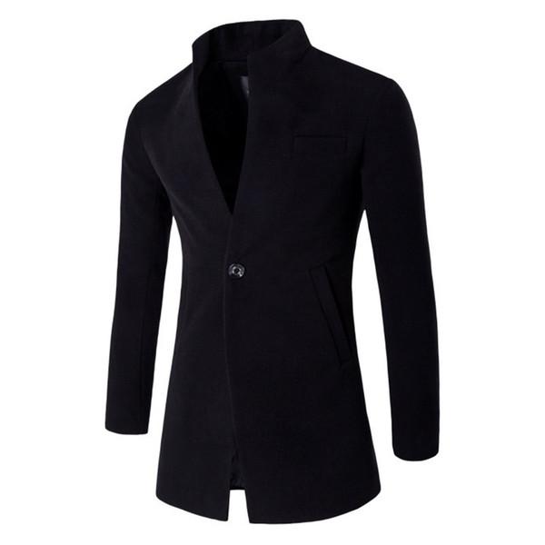 ZOGAA Autumn Winter Coat Windbreaker Men's Long Slim Cardigan Jacket Coats Mandarin Collar Casual Wool Overcoats Men Clothing