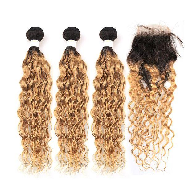 Grado superior EFBC-142 Elfriede #T 1B / 27 3pcs onda de agua 10A BrazilianRemy Bundles cabello humano teje del pelo con 4x4 del encierro del cordón envío