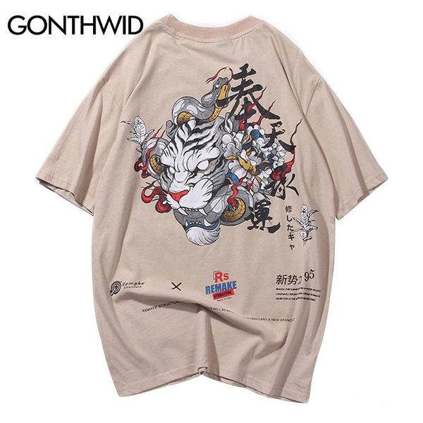 Gonthwid Chinese Character Tiger Snake Printed Tshirts Streetwear Hip Hop Men Casual Short Sleeve Tops Tees Summer Male T Shirts Y19060601
