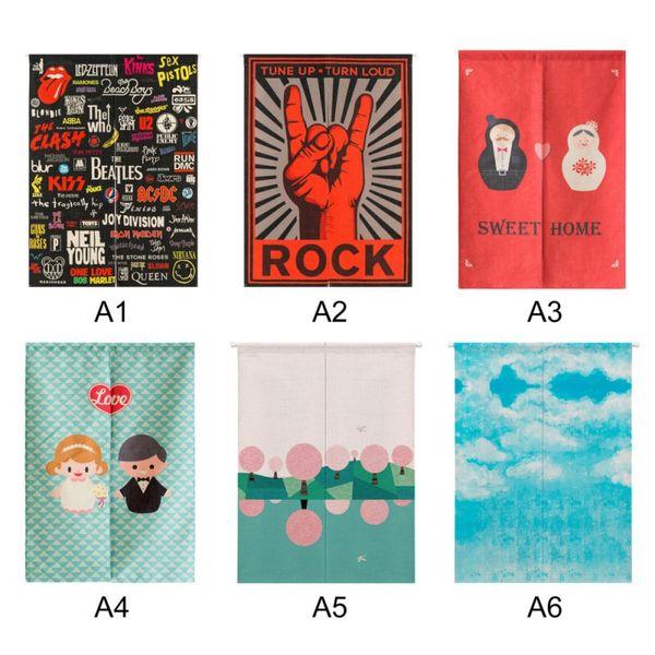 Japanische Baumwolle Leinen gedruckte Dekor Tür Vorhang Wandbehang Tapisserie Screens Raumteiler H1