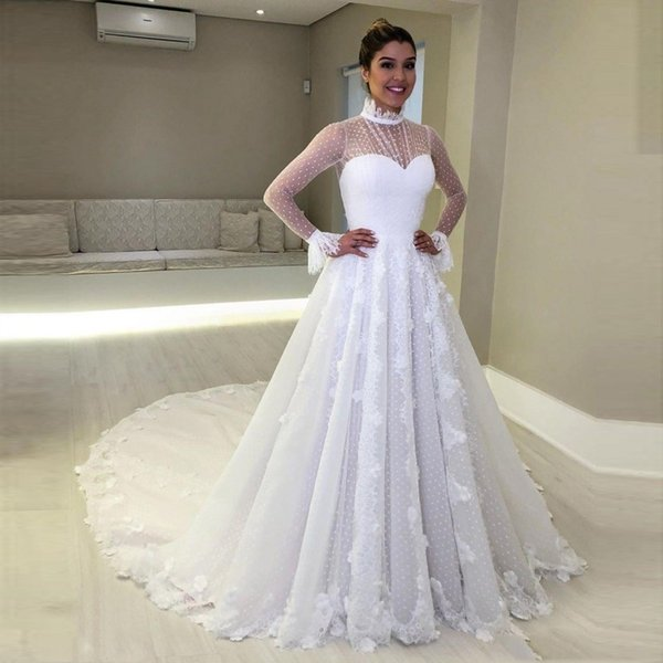 vintage high neck wedding dresses sheer neckline lace appliques illusion long sleeves wedding gowns plus size bridal vestidos cheap