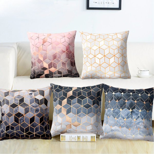 Polyester Texture Cushion Geometric Pillow Decorative Cushion for Sofa Printed Throw Pillow Seat Chair Cushion 45x45cm