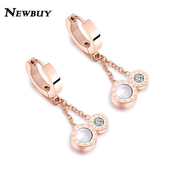 Ganze saleNEWBUY Rose Gold Farbe Edelstahl Hoop Ohrring Für Frauen Luxus Zirkonia Ohrring Schmuck Für Elegante Frauen