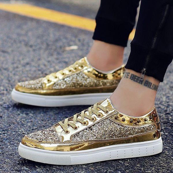 Kişilik erkek Ayakkabı Kore Perçin Ayakkabı erkek Yaz Gümüş Hip-Hop Eğilim Altın Saç Stili Öğretmenin Kara Tahta Ayakkabı Eğilim ...