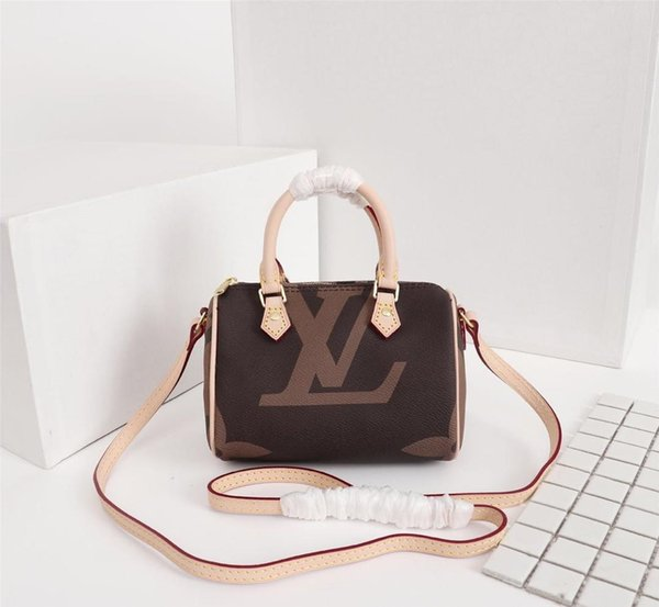 SPEEDY shoulder M61252 Mini borsa a mano tracolla in pelle tracolla 16cm Female NANO secchio borsa a mano mini marrone CLUCH BAG