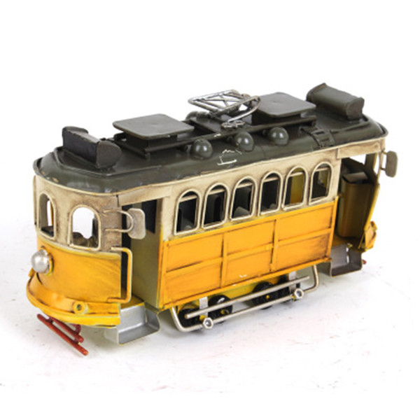 Classic Iron Car Model Ornaments Home Decoration Antique Bus Figurines Metal Crafts Photography Props Kids Toys Birthday Gifts