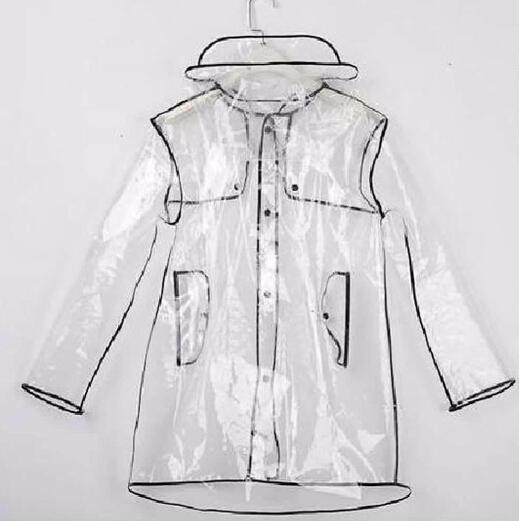 Women Girls Men Black Transparent Raincoat Eva Runway Clear Rain Coat Fashion Outdoor Travel Waterproof Rain Coat Nl117 Y190313