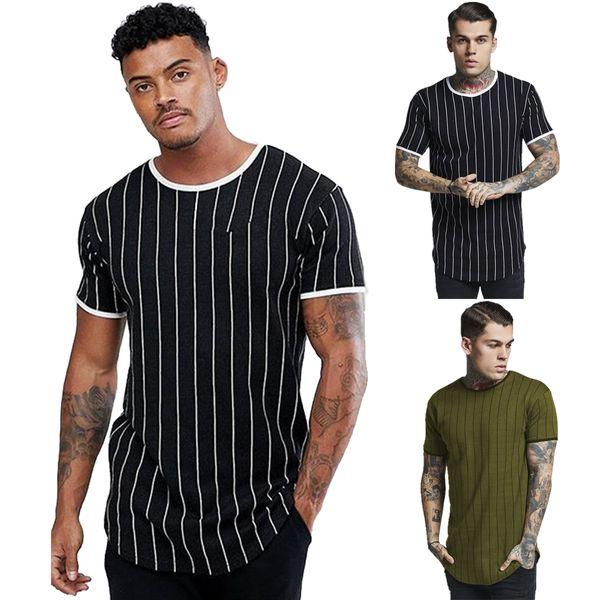 T-shirt à rayures en coton à manches courtes pour hommes