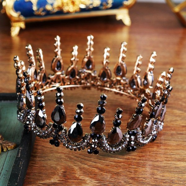 Bride Tiara Crown Wedding Black Crystal headband Vintage Diadem Rhinestone Queen King Tiaras and Crowns Hair jewelry accessories C18112001