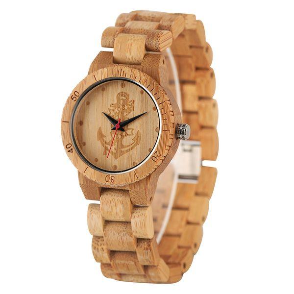 Full Bamboo Watches Anchor Compass Skull Pattern Quartz Analog Wristwatch Natural Wood Watch Women Female Watches Gift