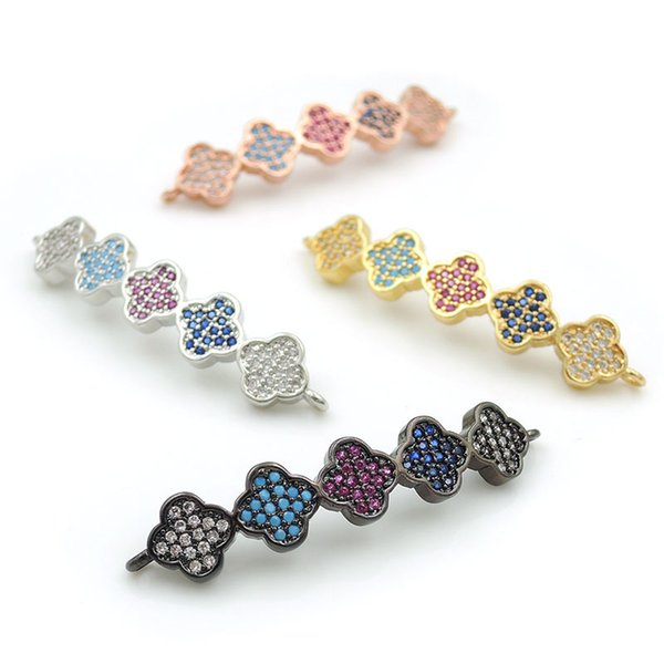 38*7*3mm Micro Pave Kallaite&Red&Blue&Clear CZ 5 Clover Arc Bar Connectors Fit For Men And Women Making Bracelets Jewelry