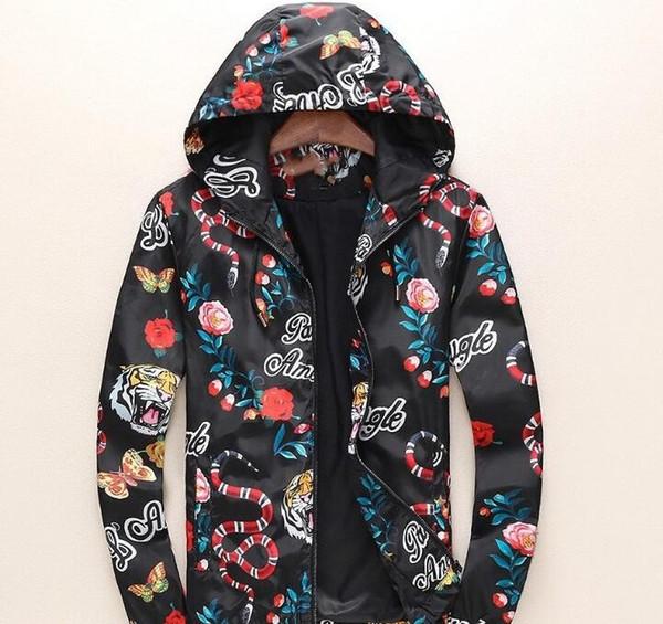 Fashion Jacket Casual Windbreaker Long Sleeve Cotton Blend One Coler Mens Jackets Zipper Pocket Animal Flower Letter Pattern