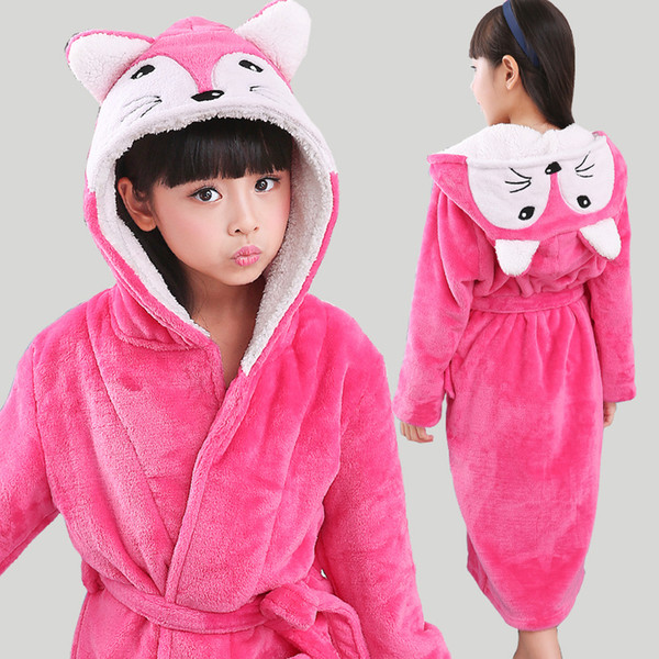 New Winter Warm Dressing Gown Kids Animal Baby Bathrobe Flannel Children Bathgrowns Bathrobes Rabbit Hooded Bath Robe For Girls J190520