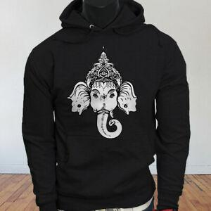 Hindu God Religion India Lord Ganapati Ganesha Lotus Proud Mens BlaHip hop Hoodie