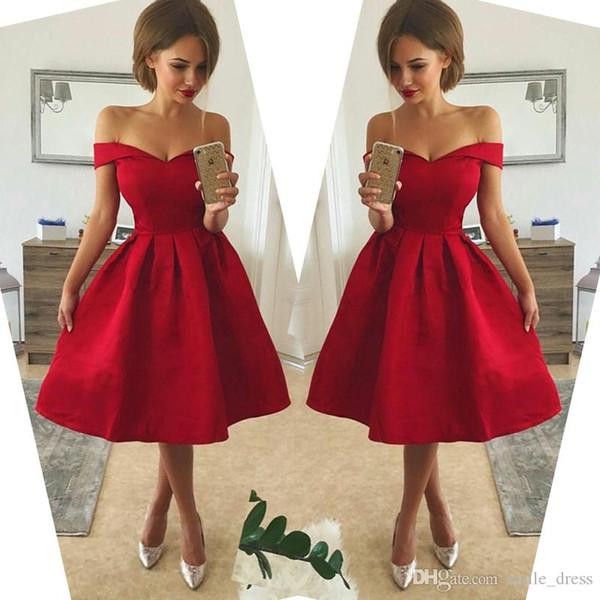 Longitud del té barato Vestidos de Fiesta de Fiesta 2017 Fuera del Hombro Una Línea Satén Vestido de Fiesta de Coctel de Baile Corto SH006