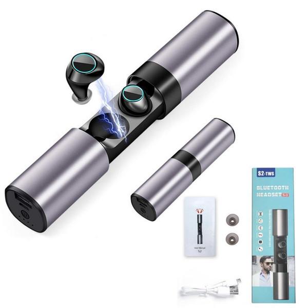 Auricolare Bluetooth Wireless Bluetooth 5.0 S2 Mini TWS Cuffie magnetiche con microfono Scatola di ricarica Auricolari per Android Samsung Sony Auricolare auto