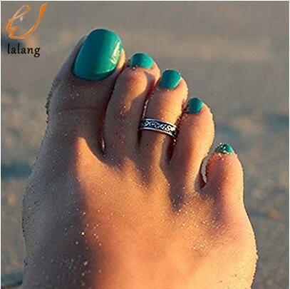 2019 Boho Beach Gioielli Vintage Retro Antique Silver Beach Totem Anello retrò Set Ethnic Carved Regolabile Open Toe Ring Finger Foot