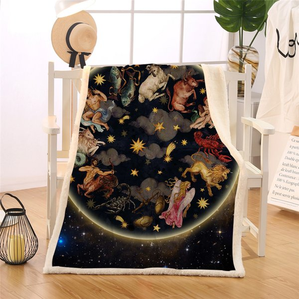BlessLiving Galaxy Blanket Animals Antique Asian Celestial Art Sherpa Flannel Fleece Blankets 3d Oriental Bed Couch Bedding