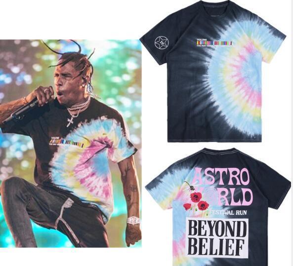 2019 New Style Travis Scott Astroworld Festival Run Tie Dye Tee Hiphop Tees High Quality T shirt Men clothing 100% Cotton T shirt S/XL