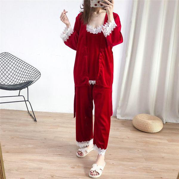 3 pezzi pigiama set velluto pigiama per le donne sexy pizzo top + pantaloni + accappatoio set v neck da notte patchwork inverno rosso