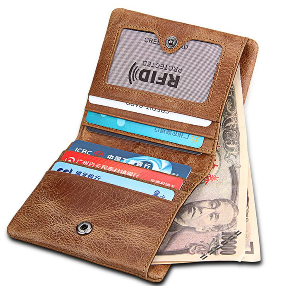 Genuine Leather Mens Wallet Man zipper Short Coin Purse Anti-RFID Crazy Horse Leather Credit&id Wallet Multifunction Small Wallets