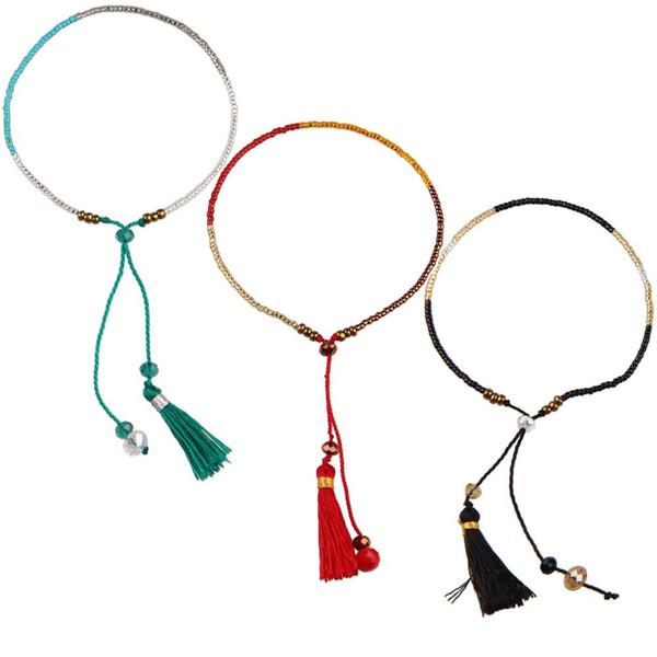 KELITCH 3pcs-set Miyuki Seed Beaded Bracelets Handwoven Friendship Charm Tassel String Crystal Bracelets Cuff Bangles Jewelry