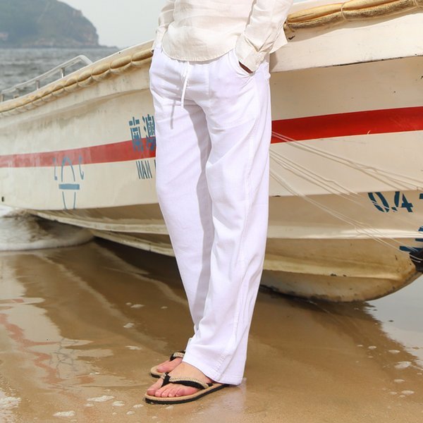 Spring And Summer Men Fashion Brand Chinese Style Cotton Linen Loose Pants Male Casual Simple Thin White Straight Pants Trousers V191026