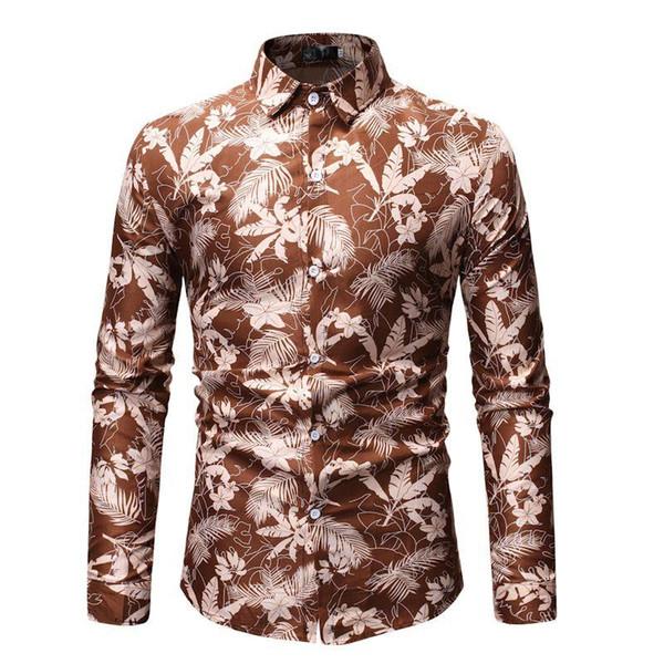 Camicetta hawaiana del fiore della pianta Manica lunga Camicetta casuale degli uomini Palcoscenico floreale Camicie da uomo Khaki Red Black Camisa masculina