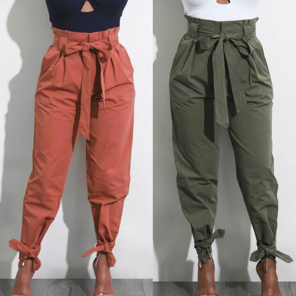 2019 Hot Fashion Women Cotton High Waist Bow Harem Palazzo Paper Bag Pencil Pants Trousers Pantalon Femmes