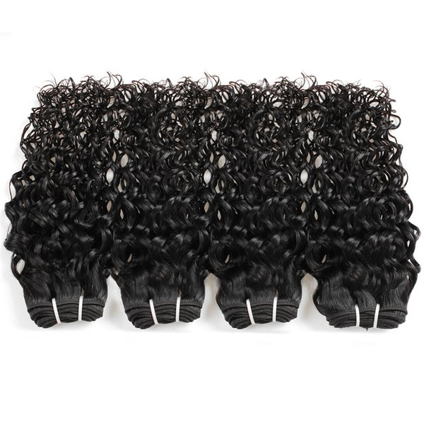 Brazilian Water Wave Real Human Hair Wigs 8-28 inches raw virgin indian hair 3pcs hairs bundles cheap hair extensions