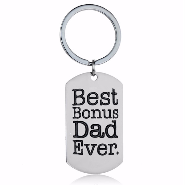 12PC/Lot Best Bonus Dad Ever Stainless Steel Dog Tag Keyring Family Stepdad Key Chain Jewelry Fathers Stepfather Gifts Keychain