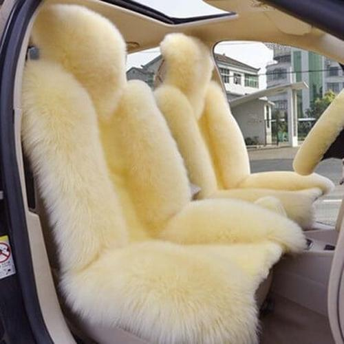 1PCS Winter Wool Warm Material Universal Car Auto Texture Deluxe Edition Front Seat Mat Cover Accessories